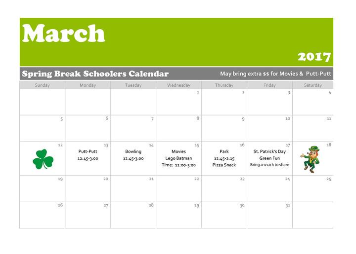 Spring Break Schoolers Calendar 2017